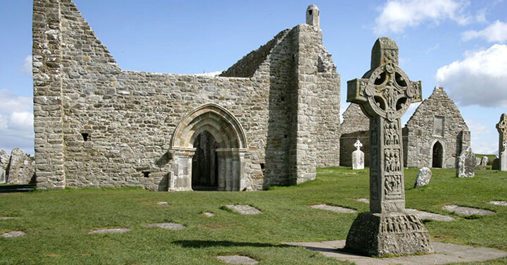 Church and headstones at Clonmacnoise
