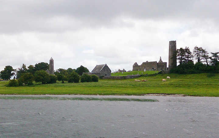 a view of Clonmacnoise from the river Shannon