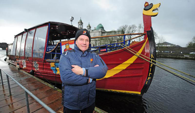 viking mike in front of Viking ship