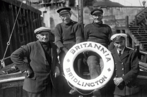 Britannia crew circa 1930. Robert Crawford, Ernest Brannie Welburn, Harry Tal Hopper and Jim Bruce Sawden