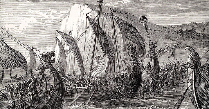 historic image of viking ships